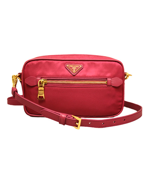 Prada Saffiano Tessuto Nylon With Red Leather