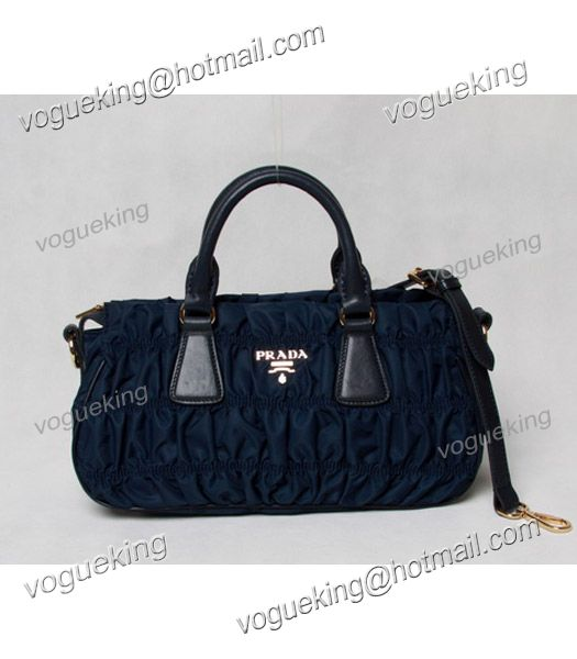 Prada Gaufre Nylon With Blue Leather Top Handle Bag-1