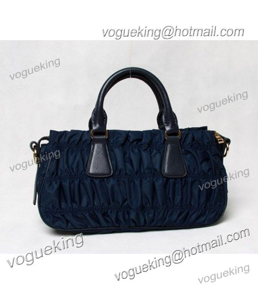 Prada Gaufre Nylon With Blue Leather Top Handle Bag-3