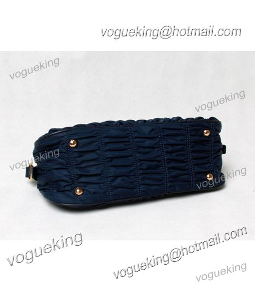 Prada Gaufre Nylon With Blue Leather Top Handle Bag-4
