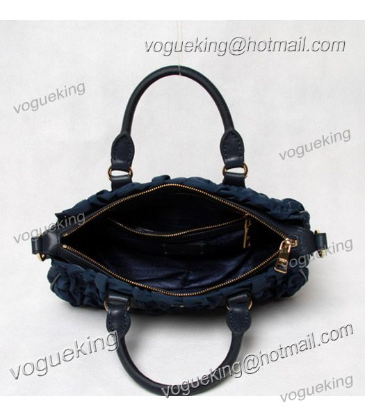 Prada Gaufre Nylon With Blue Leather Top Handle Bag-5