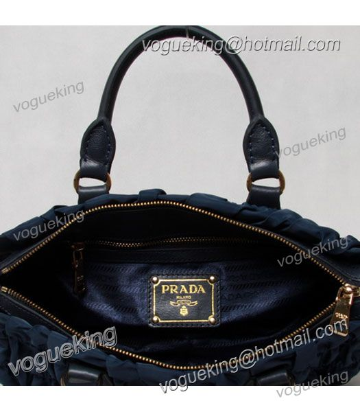Prada Gaufre Nylon With Blue Leather Top Handle Bag-6