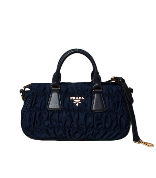 Prada Gaufre Nylon With Blue Leather Top Handle Bag