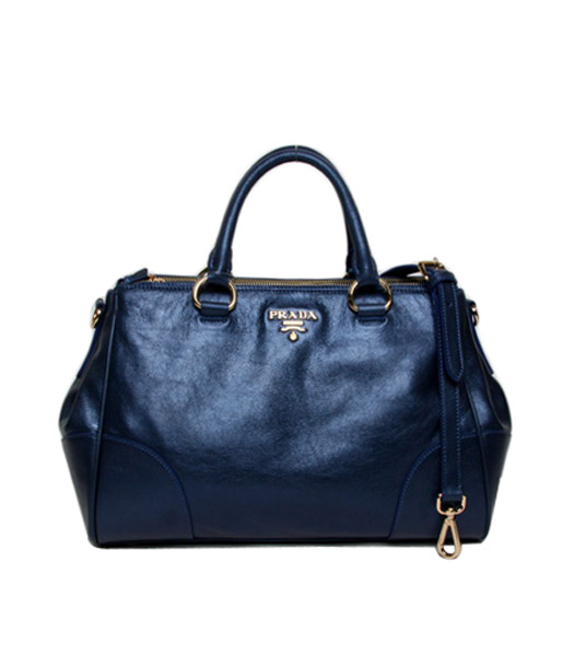 Prada Vitello Blue Original Oil Leather Shopping Tote Satche