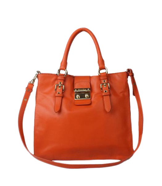 Miu Miu Medium Orange Calfskin Leather Tote Shoulder Bag