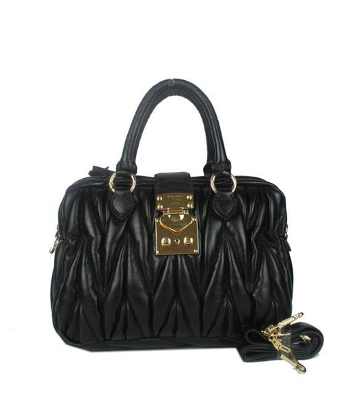 Miu Miu Black Matelasse Lambskin Leather Handbag