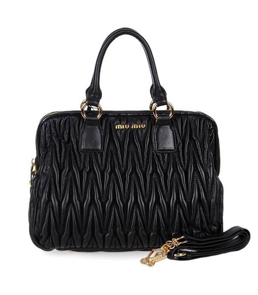 Miu Miu Medium Black Matelasse Lambskin Leather Handbag