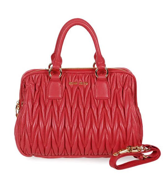 Miu Miu Medium Fuchsia Matelasse Lambskin Leather Handbag