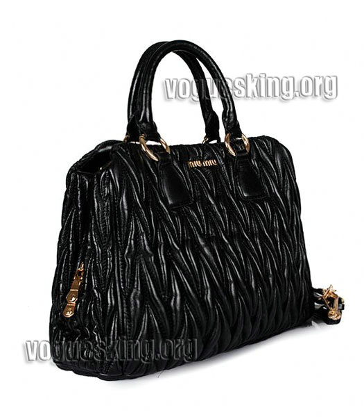 Miu Miu Large Black Matelasse Leather Handbag-1