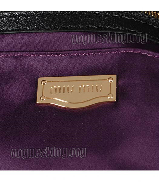 Miu Miu Large Black Matelasse Leather Handbag-5