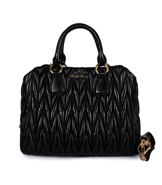 Miu Miu Large Black Matelasse Leather Handbag