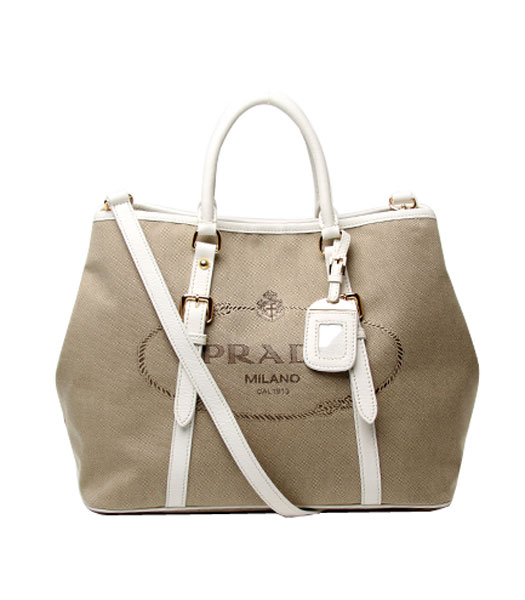 Prada Tessuto Apricot Canvas With Offwhite Leather Shopping Tote