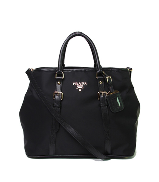 Prada Tessuto Black Waterproof With Black Leather Shopping Tote