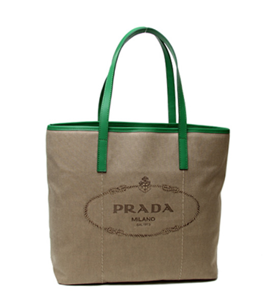 Prada Apricot Canvas With Green Leather Shopping Bag