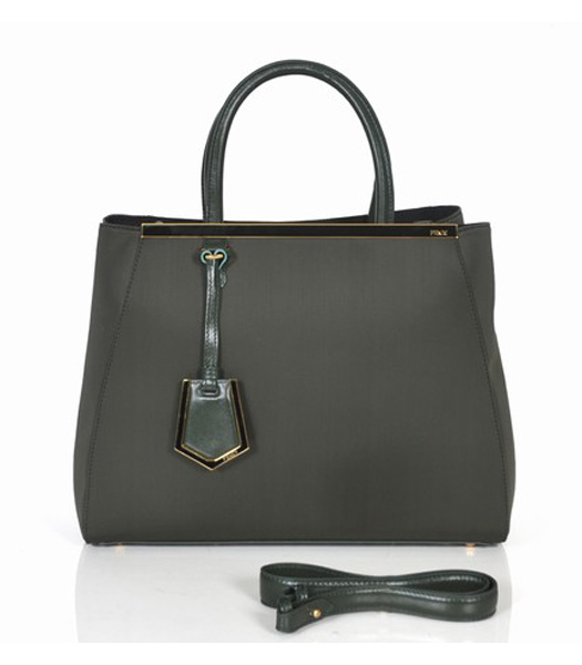 Fendi 2jours Green Canvas Tote Bag