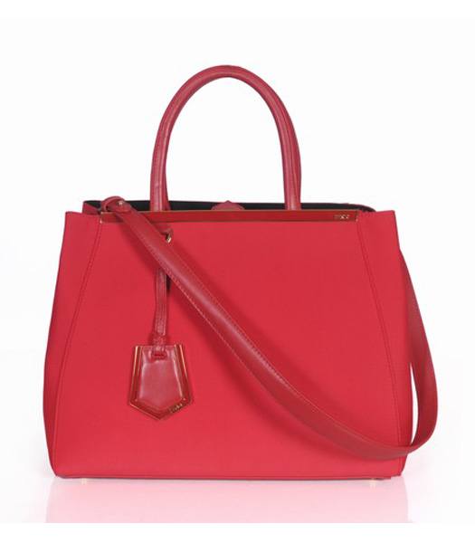 Fendi 2jours Red Canvas Tote Bag