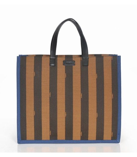 Fendi Striped Fabric With Sapphire Blue Leather Large Tote Bag