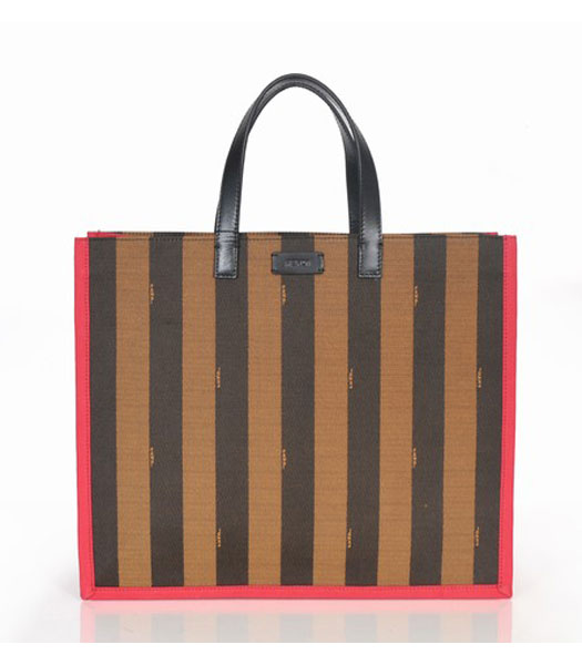 Fendi Striped Fabric With Red Leather Large Tote Bag