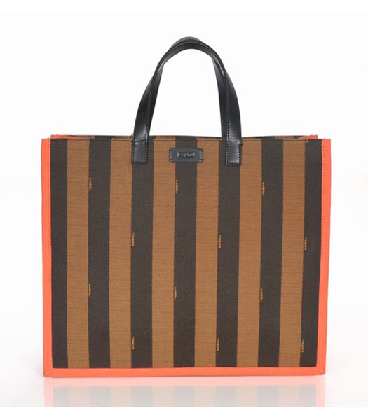 Fendi Striped Fabric With Orange Leather Large Tote Bag