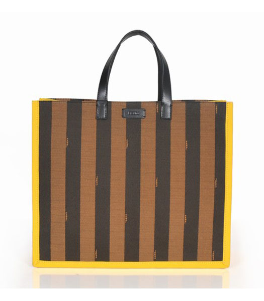 Fendi Striped Fabric With Yellow Leather Medium Tote Bag
