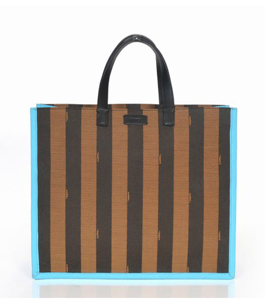 Fendi Striped Fabric With Light Blue Leather Medium Tote Bag