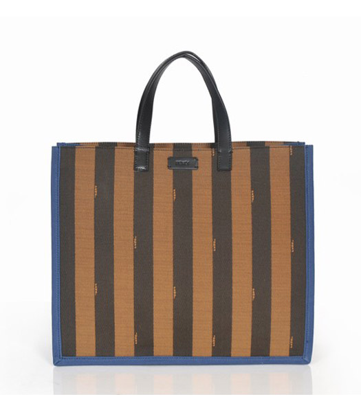 Fendi Striped Fabric With Sapphire Blue Leather Medium Tote Bag