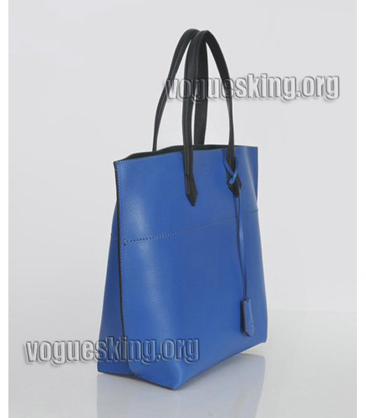 Fendi Blue Original Leather Shopping Tote Bag-2