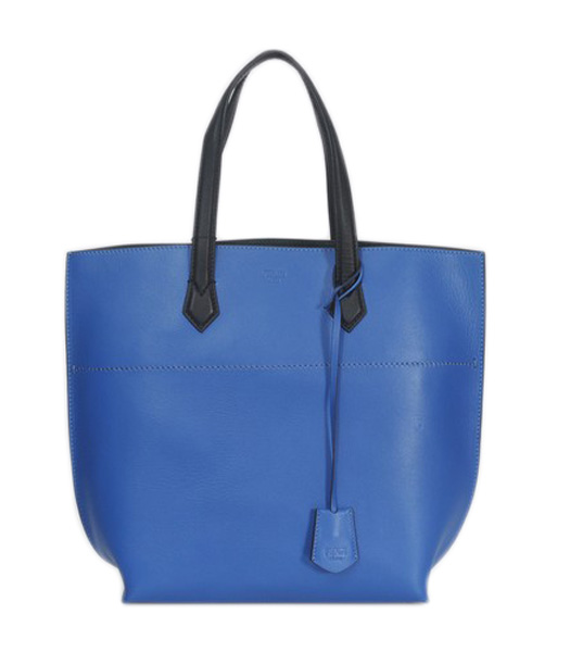 Fendi Blue Original Leather Shopping Tote Bag