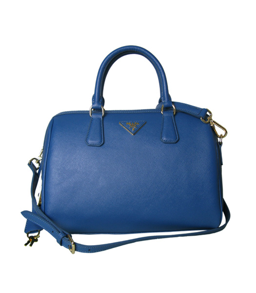 Prada Saffiano Cross Veins Leather Tote Handbag Blue