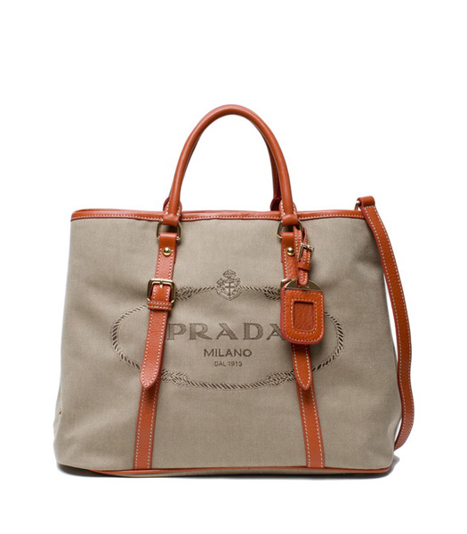 Prada Tessuto Apricot Canvas With Orange Leather Shopping Tote