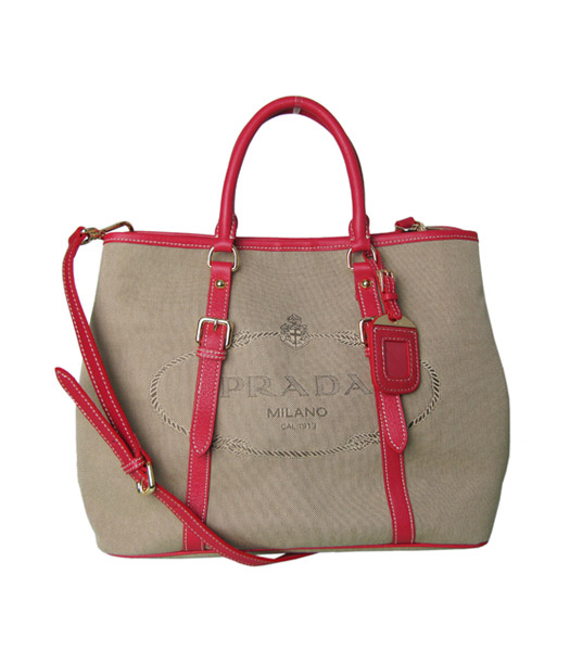 Prada Tessuto Apricot Canvas With Red Leather Shopping Tote