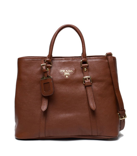 Prada Tessuto Coffee Original Leather Shopping Tote