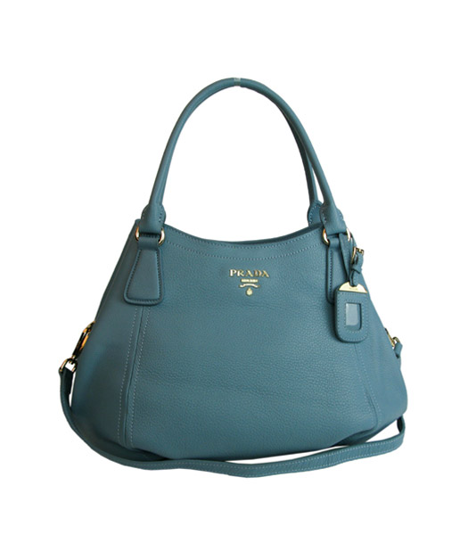 Prada Original Calfskin Leather Tote Bag Light Blue