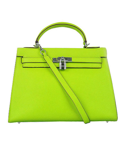 Hermes Kelly 32cm Green Palm Print Leather Bag with Silver Metal