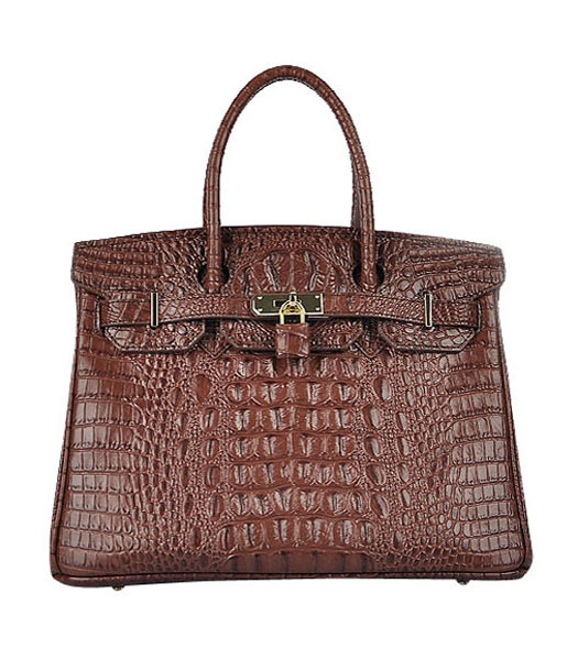 Hermes Birkin 30cm Dark Coffee Croc Veins Leather Bag Golden Metal