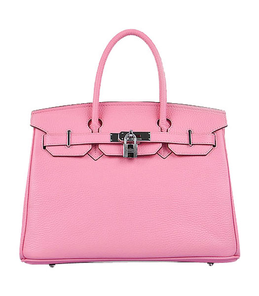 Hermes Birkin 30cm Pink Croc Veins Leather Bag Silver Metal