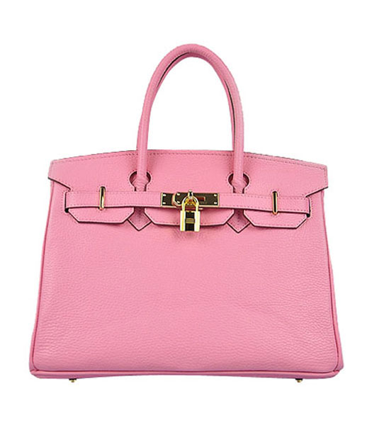 Hermes Birkin 30cm Pink Croc Veins Leather Bag Golden Metal