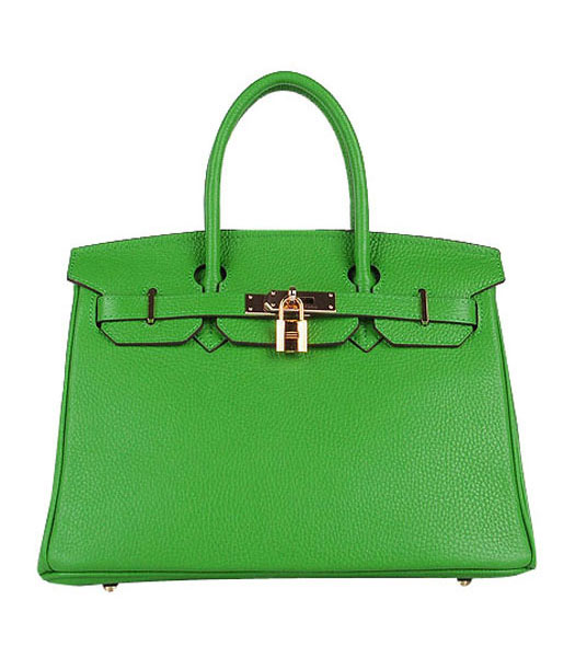 Hermes Birkin 30cm Apple Green Togo Leather Bag Golden Metal