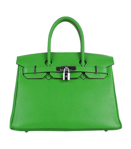 Hermes Birkin 30cm Apple Green Togo Leather Bag Silver Metal