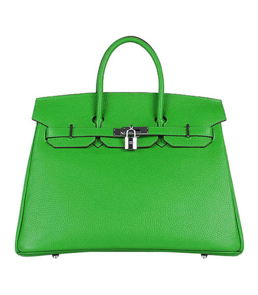 Hermes Birkin 35cm Apple Green Togo Leather Bag Silver Metal