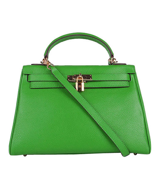 Hermes Kelly 32cm Apple Green Togo Leather Bag with Golden Metal