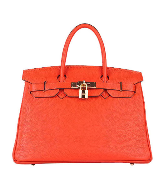 Hermes Birkin 30cm Light Orange Togo Leather Bag Golden Metal