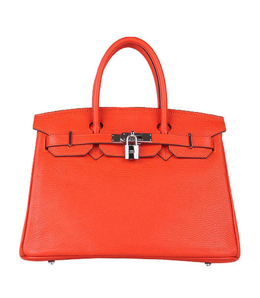 Hermes Birkin 30cm Light Orange Togo Leather Bag Silver Metal