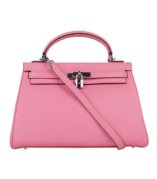 Hermes Kelly 32cm Sakura Pink Togo Leather Bag with Silver Metal
