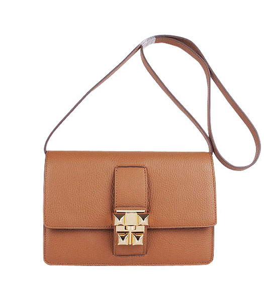 Hermes Constance Watermelon Light Coffee Leather Shoulder Bag with Golden Metal