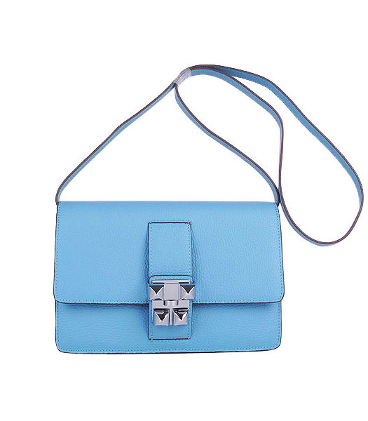 Hermes Constance Watermelon Light Blue Leather Shoulder Bag with Silver Metal