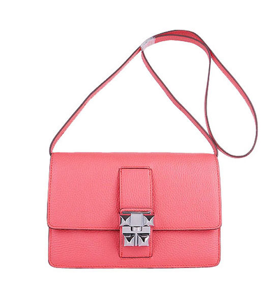 Hermes Constance Watermelon Light Watermelon Red Leather Shoulder Bag with Silver Metal