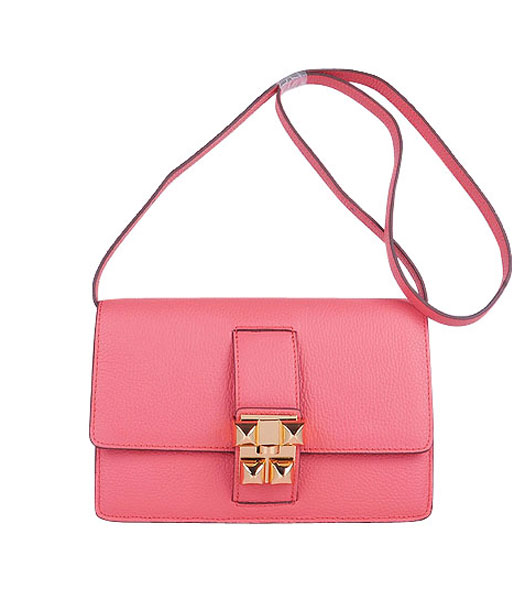 Hermes Constance Watermelon Light Watermelon Red Leather Shoulder Bag with Golden Metal