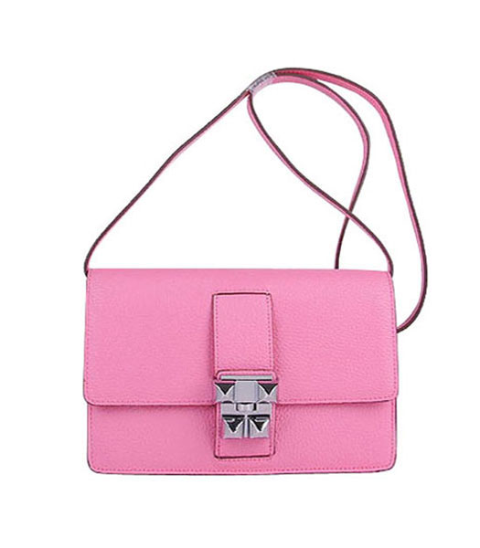 Hermes Constance Watermelon Sakura Pink Leather Shoulder Bag with Silver Metal