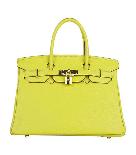 Hermes Birkin 30cm Lemon Yellow Togo Leather Bag Golden Metal